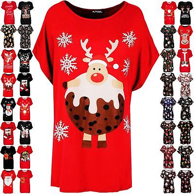 Ladies Christmas Batwing Women Baggy Reindeer Pudding Oversized Xmas T Shirt Top
