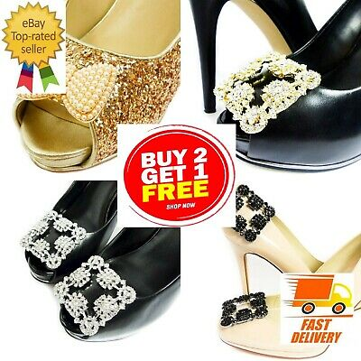 £3.32 • Buy New Diamante Rhinestone Crystal Decorative Pearl Gold Shoe Clips Bow Pair Buckle