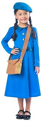 Girls WW2 WW1 Country Evacuee Historical Book Day Fancy Dress Costume Outfit • 14.99£