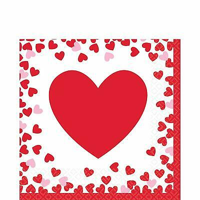 £4.65 • Buy Valentines Beverage Napkins Confetti Hearts Party Table Decorations Red & Pink