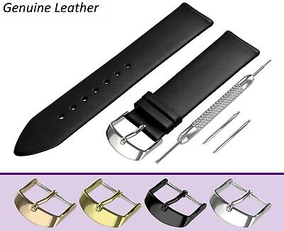 Fits OMEGA Watch Black Genuine Leather Watch Strap Band For Buckle Clasp Pins • 6.95£