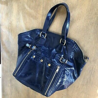 AU900 • Buy 100 % Authentic YVES SAINT LAURENT DOWNTOWN BLUE PATENT BAG USED TWICE ONLY