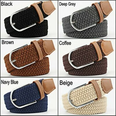 $8.70 • Buy Belt For Men Elastic Waistband Canvas Buckle Braided Mens Woven Stretch Straps