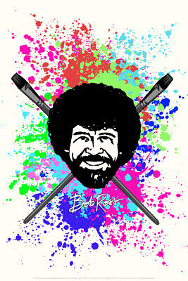 Bob Ross With Crossed Brushes Painting Art Poster 12x18 Inch • 6.16£
