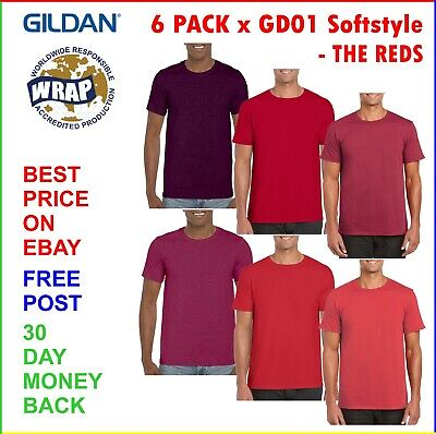6 PACK X MENS RED T-SHIRT PACK Gildan Softstyle Soft Feel Tees (S-2XL) • 17.99£
