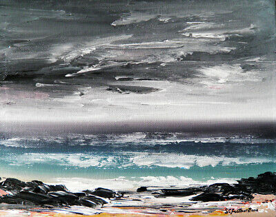 ORIGINAL CANVAS SEASCAPE PAINTING Sarah Featherstone, The Sea, Beach, Waves, ART • 29.99£