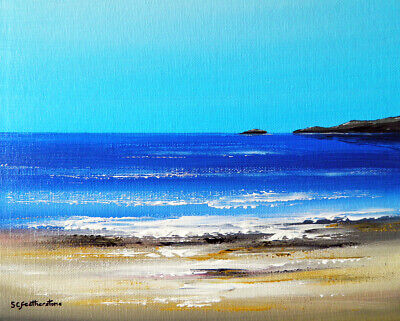 ORIGINAL CANVAS SEASCAPE PAINTING Sarah Featherstone, By The Sea, Beach, Coast • 29.99£