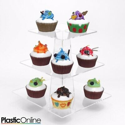£15 • Buy Cupcake Stand 3 Tier Square Clear Acrylic Perspex Tower Weddings Party Display