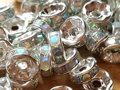 50 Silver Ab Clear Rhinestone Rondelle Spacer Beads 8mm Christmas Crafts  • 2.75£