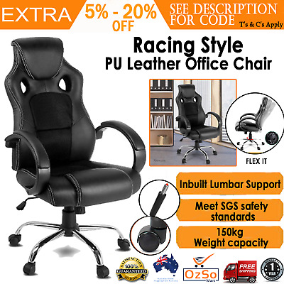 AU137.59 • Buy Comfortable Desk Chair Ergonomic High Back Office Recliner Leather Racing Seat