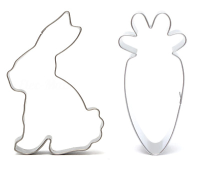 Bunny Rabbit & Carrot Shape Cookie Cutter Easter Cake Biscuit Pastry Mould  • 4.95£