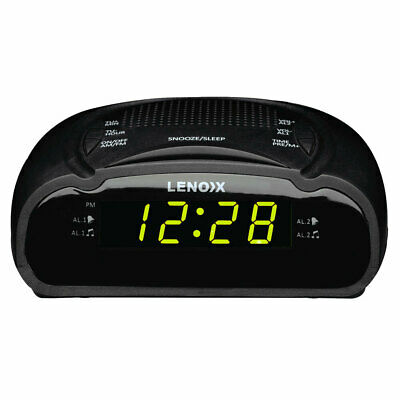 AU25 • Buy Lenoxx AM/FM Station Radio Digital LED Dual Alarm Clock Sounds Snooze/Sleep BLK