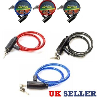 10mm Thick Bicycle Bike Cycle Spiral Steel Cable Lock/Strong Security Chain 2Key • 2.99£