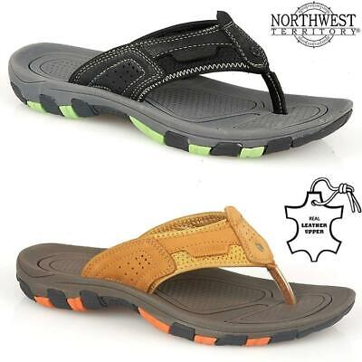 Mens Leather Summer Sandals Walking Toe Post Flip Flops Sandals Beach Shoes Size • 17.95£