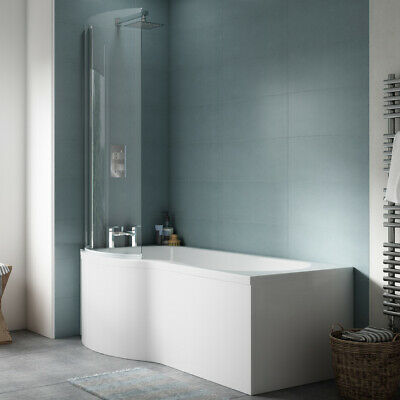 £316.99 • Buy P Shaped Bath 1700 Right Or Left Hand And Glass Shower Screen White Square Panel