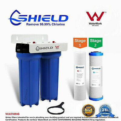 AU89.95 • Buy  Twin Whole House Water Filter System 2 Stages 10  X 2.5  Brass Port  WaterMark