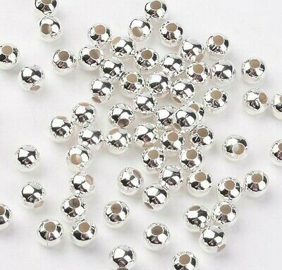 Smooth Round Silver Plated Hollow Spacer Beads Jewellery Making Crafts  • 1.25£