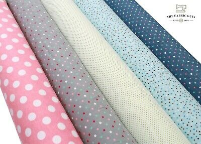 £3.49 • Buy Soft Brushed Premium Flannel Cotton Fabric Winceyette , Pin Spot Polka Dots ,44