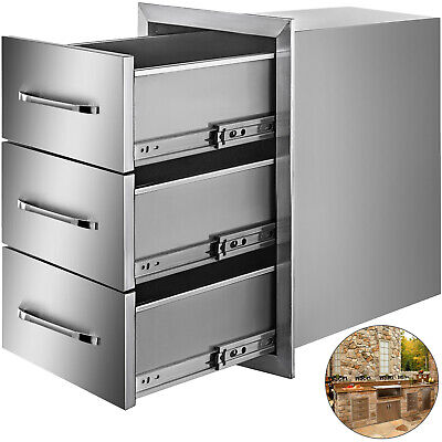 $199.93 • Buy TRIPLE DRAWER OUTDOOR KITCHEN BBQ ISLAND STAINLESS STEEL15.7 X 21.6 DRAWERS