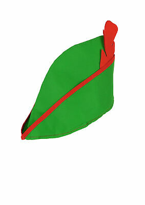 £3.99 • Buy Green Mens Robin Hood Peter Pan Hat With Red Feather Fancy Dress Costume Prop