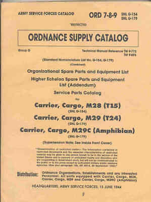 $97.41 • Buy Studebaker M28 M29 M29C Weasel Complete Parts List Book US Army ORD9 G154 G179