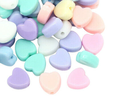 £0.99 • Buy ❤ 100 X Mixed HEART Acrylic PASTEL 8mm Spacer Beads Children Jewellery Making ❤