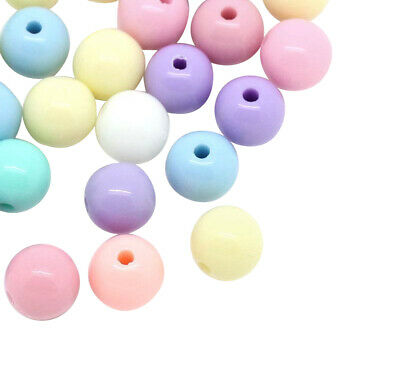 £0.99 • Buy ❤ Mixed ROUND Acrylic PASTEL/NEON Spacer Beads 6mm 8mm Jewellery Making UK ❤