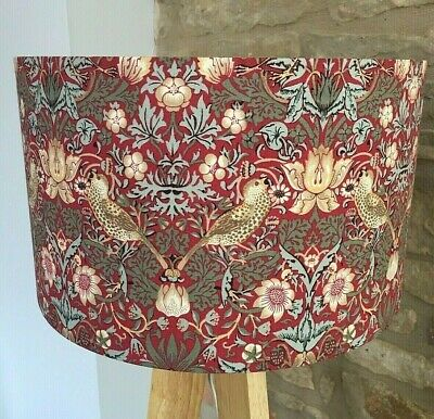 £37 • Buy Handmade William Morris Strawberry Thief-Lampshade-Floral- Bird-Red-Green