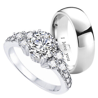 £37.99 • Buy New Couple  Titanium /925 Sterling Silver Wedding Engagement Ring Set