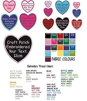 Personalised Craft Patch Embroidered Any Name Text Colour - Sew On Heart Badge • 2.99£