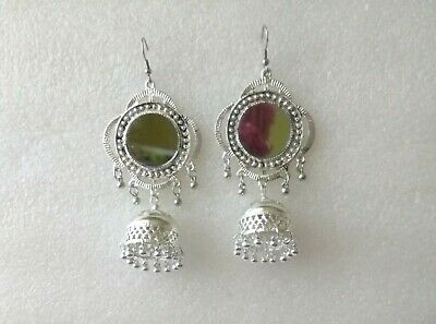 a85b45749 Kashmiri Mugal Bollywood Silver Oxidized Indian Jhumka Jhumki Offce Earrings  M-3 • 8.30$