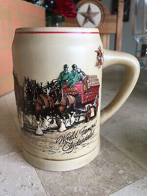 $ CDN5.04 • Buy Budweiser World Famous Clydesdales Holiday Beer Mug Stein Vintage 1987