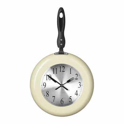 Decorative Wall Clock, Cream Frying Pan Design, Metal/plastic - BLPH4901 • 27.60£