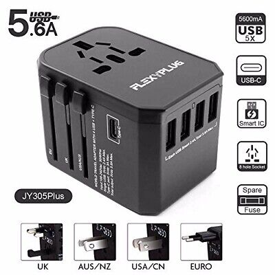 AU33.21 • Buy Travel Adapter By FLEXYPLUG, All In One 5 X USB (1 Type C) Smart Quick Charger