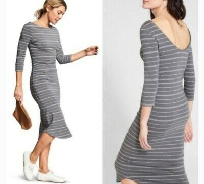 8ca3b617e57 NWT Athleta Comeback Midi Dress XS Small 3 4 Sleeve Stripe Cotton Modal •  25.00