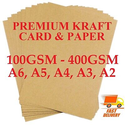£0.99 • Buy A2 A3 A4 A5 A6 100gsm -400gsm BROWN KRAFT CARD PRINTER PAPER BOARD SHEETS BLANKS