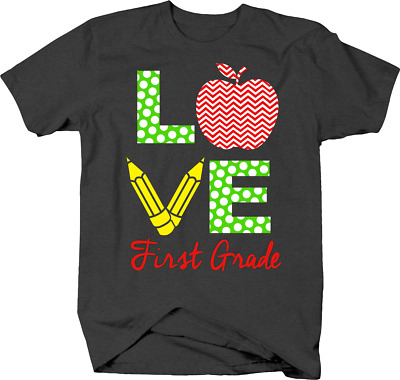 $12.88 • Buy Love First Grade For Elementary School Students BTS & Pencil Tshirt