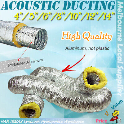 "AU40 • Buy Hydroponic 4""/5 /6 /8 /10 /12 /14  Insulated Flexible Acoustic Ducting Heat Cool"