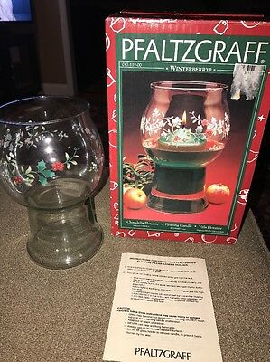 $11.69 • Buy Pfaltzgraff, Winterberry Floating Candle Vase Etched Hand Painted With Box (KC)