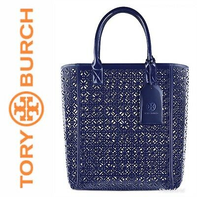 cd7ba3ce62b NWT Tory Burch Large Navy Blue Lace Perforated Patent Tote Bag - LIMITED •  68.50