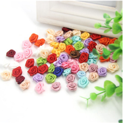 100Pcs Mini Rose Satin Ribbon Small Flowers Wedding Decor Sewing Appliques Craft • 2.49£