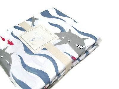 Pottery Barn Kids Organic Cotton Nautical Shark Full Queen Duvet Cover New • 81£