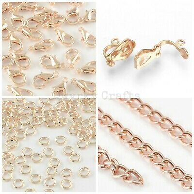 Rose Gold Plated Jewellery Making Findings Chain Jump Rings Clasps UK Seller • 2.19£