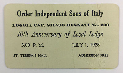 Order Independent Sons Of Italy VTG Invitation Card Lodge 10th Anniversary 1928 • 7.15£