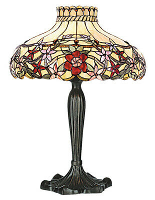 £149.99 • Buy Tiffany Style Milano Flowers Red Cream Stained Glass Antique Table Lamp