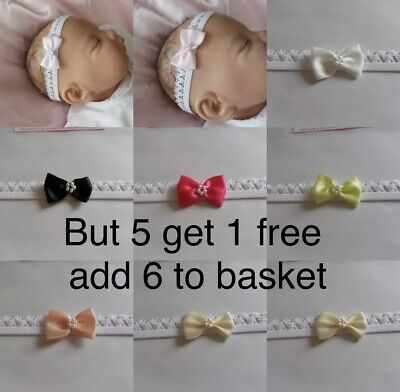 Baby Headband White Lace Elastic Small Bow Lots Of Colours • 1.25£
