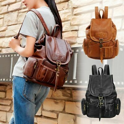 $21.98 • Buy Women Girls Leather Backpack Shoulder School Satchel Vintage Travel Bag Rucksack