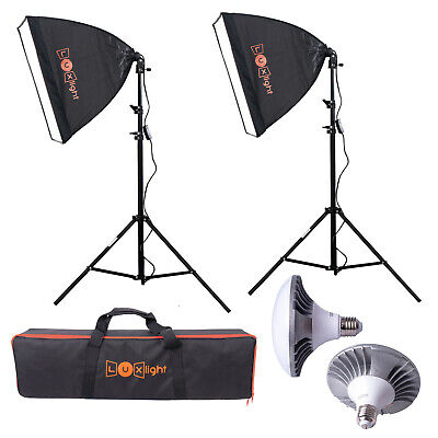 Pro LED Softbox Lighting Kit | Luxlight ® | Photo Video Studio Continuous Set • 99.95£