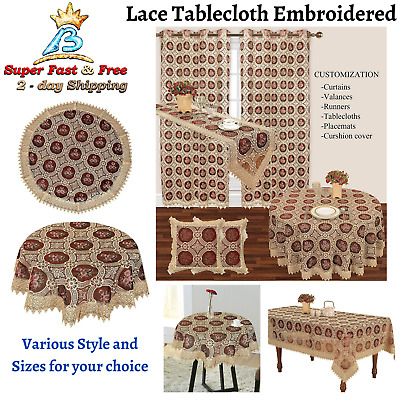 $26.79 • Buy Lace Tablecloth Table Cloth Cover Round Square Oval Rectangle Burgundy Vintage