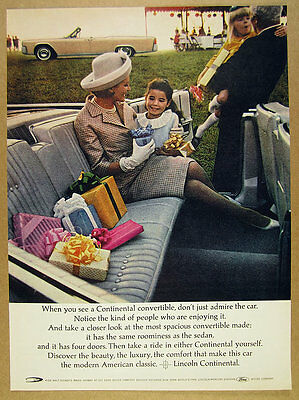 $8.29 • Buy 1964 Lincoln Continental Convertible Back Seat Car Photo Vintage Print Ad